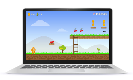 Laptop Computer With Game Screen Vector Illustration