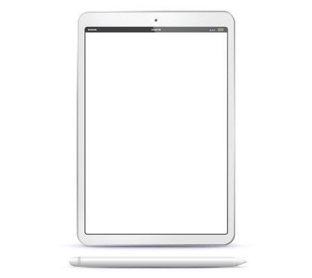Tablet Computer and Pen Vector Illustration Ilustracja