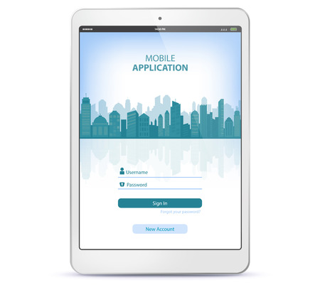 Tablet Computer With Application Login Screen Ilustracja