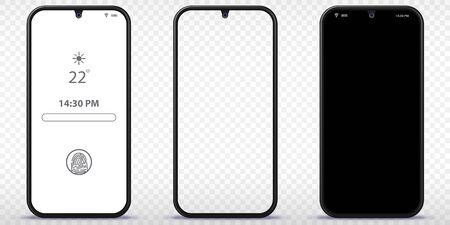 Mobile Phone Vector Mockup With Transparent, Black and Lock Screen Ilustração