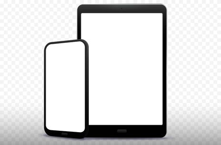 Mobile Phone and Tablet Computer Vector Illustration with Transparent Background Banco de Imagens - 136117867