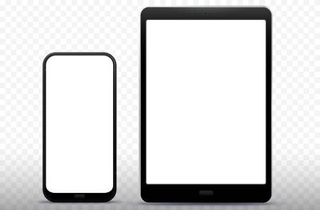 Mobile Phone and Tablet Computer Vector Illustration with Transparent Background