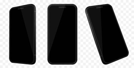 Black Mobile Phone Mockup With Different Angles. Isolated on Transparent Background.
