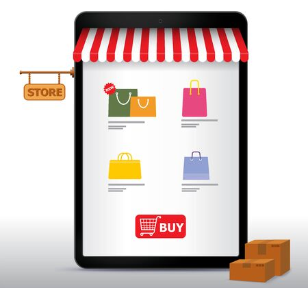 Online Shopping on Tablet Computer and Application Vector Illustration. E-Commerce and Digital Marketing Concept.