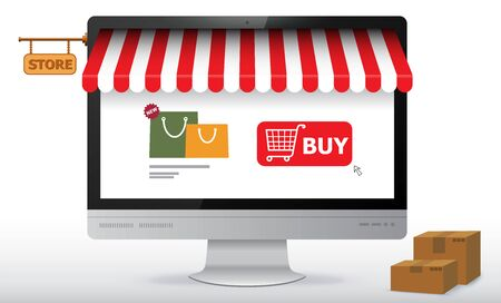 Online Shopping Store on Computer Monitor Screen. E-Commerce and Digital Marketing Concept Vector Illustration.