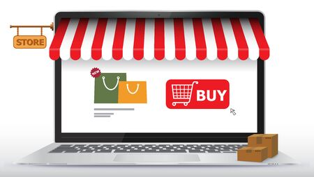 Online Shopping Store on Laptop Computer Screen. E-Commerce and Digital Marketing Concept Vector Illustration. Stock fotó - 143112845