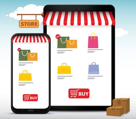 Online Shopping Store on Mobile Phone and Tablet Computer Vector Illustration. E-Commerce and Digital Marketing Concept. Stock fotó - 143112846