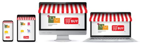 Online Shopping on Mobile Phone, Tablet Pc, Computer Monitor and Laptop Screen. E-Commerce and Digital Marketing Concept Vector Illustration. Illustration