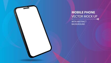 Mobile Phone Vector Mockup With Perspective View. Black Smartphone Isolated on Blue Geometric