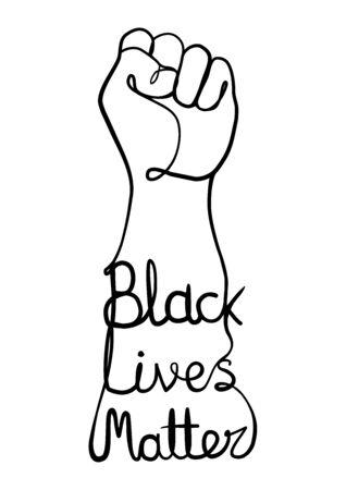 Black Lives Matter Line Art Illustration with Rising Fist. Illustration