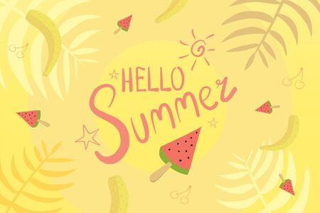 Hello Sunny Summer Vector Background Illustration With Watermelon, Banana and Cherry. Banco de Imagens - 150097576
