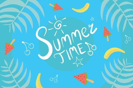 Hello Summer Blue Vector Background Illustration With Watermelon, Banana and Cherry.