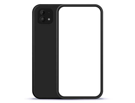 Black Mobile Phone Front and Back View. White Screen Smartphone Vector Illustration.