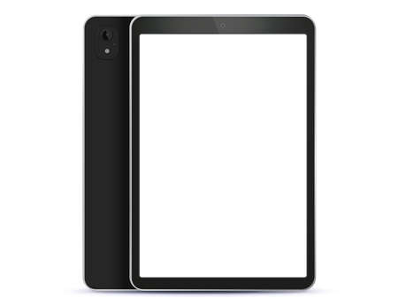 Black Tablet Computer Front and Back Side View. Vector Illustration With White Screen. Illusztráció