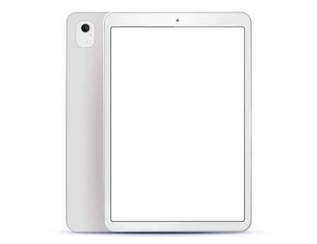 White Tablet Computer Front and Back Side View. Vector Illustration With White Screen. Illustration