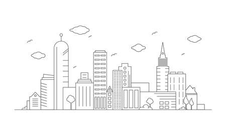 Cityscape outline vector drawing illustration with skyscrapers, office buildings and urban skyline panorama.
