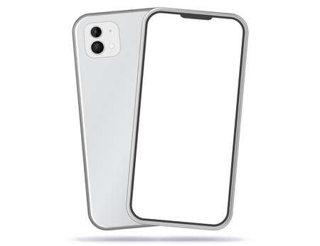 Silver Colored Mobile Phone Front and Back View. White Screen Smartphone Vector Illustration.