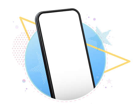 Mobile Phone Vector Mockup With Perspective View. Black Smartphone Isolated on Blue  Background.