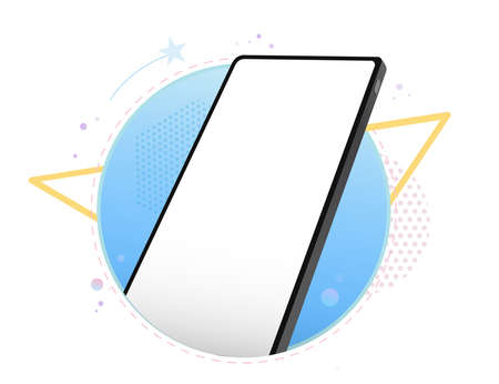 Mobile Phone Vector Mockup With Geometric Abstract Background. Frameless Black Smartphone Perspective View. Illusztráció