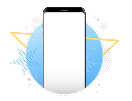 Mobile Phone Vector Mockup With Geometric Abstract Background. Frameless Black Smartphone Front View. Illustration
