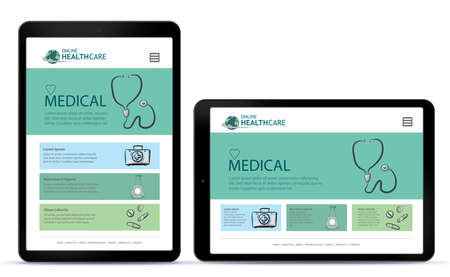 Healthcare and Medical User Interface Design for Tablet Computer App. Horizontal and Vertical Positions.