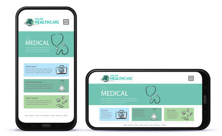 Healthcare and Medical App User Interface Design for Mobile Phones. Horizontal and Vertical Positions. Ilustrace