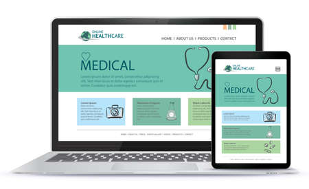 Healthcare and Medical User Interface Design for Web Site and Mobile App. Laptop and Tablet Computer Vector Illustration. Illusztráció