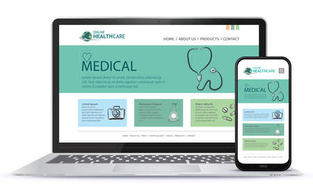 Healthcare and Medical User Interface Design for Web Site and Mobile App. Laptop and Mobile Phone Screen Vector Illustration.