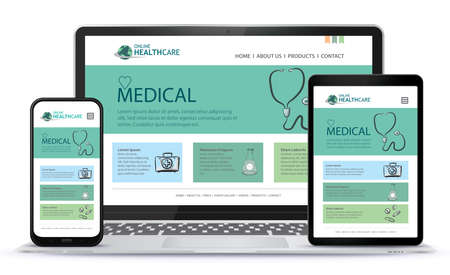Healthcare and Medical User Interface Design for Web Site and Mobile App. Laptop, Tablet PC and Mobile Phone Vector Illustration. Stock fotó - 154165659