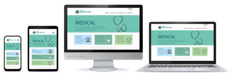 Healthcare and Medical User Interface Design for Web Site and Mobile App. Laptop, Desktop Computer Monitor, Tablet PC and Mobile Phone Vector Illustration.