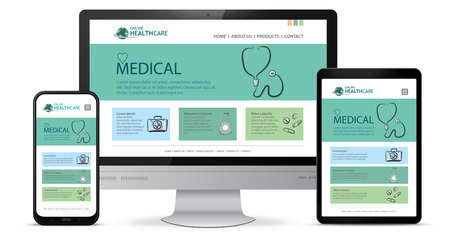 Healthcare and Medical User Interface Design for Web Site and Mobile App. Desktop Computer Monitor, Tablet PC and Mobile Phone Vector Illustration. Vetores