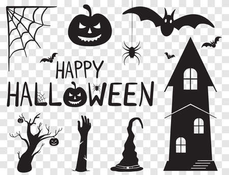 Happy Halloween Text Banner and Silhouette Horror Characters. Vector Illustration Set With Transparent Background Illusztráció