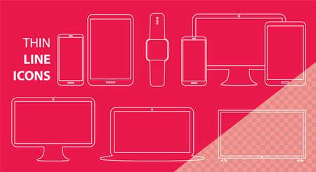 Mobile Phone, Tablet PC, Computer Monitor, Laptop Screen and Smart Watch Vector Line Icon Set. Transparent Line Art Illustrations for Digital Devices. Illusztráció