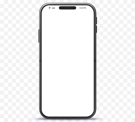 Mobile phone vector with white screen.