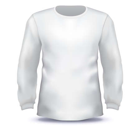 White Male long sleeve shirt vector template.