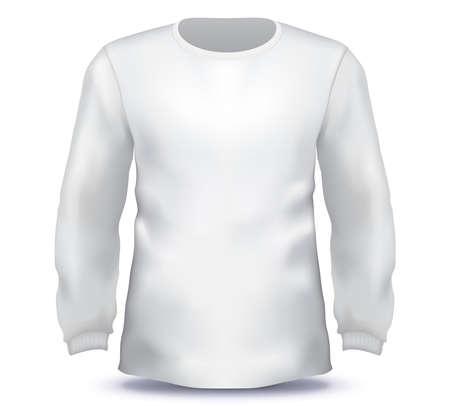White Male long sleeve shirt vector template.