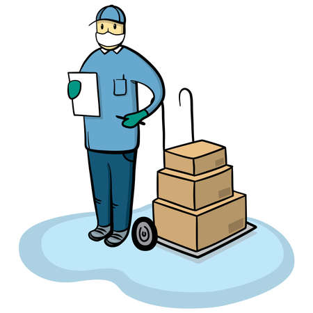 Delivery courier man with medical protective mask and gloves. Safe cargo delivery during coronavirus pandemic concept vector illustration.