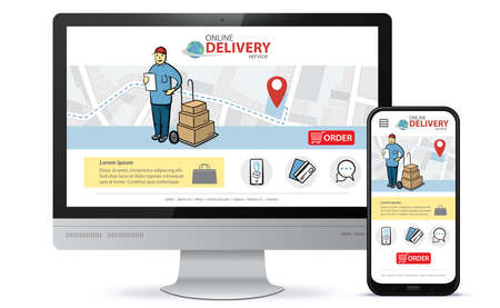 Online delivery service vector UI on Smartphone and Computer screen. Vertical and horizontal responsive design template for online shooping app and mobile website.