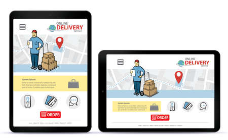 Online delivery service vector UI on tablet computer screen. Vertical and horizontal responsive design template for online shooping app and mobile website.