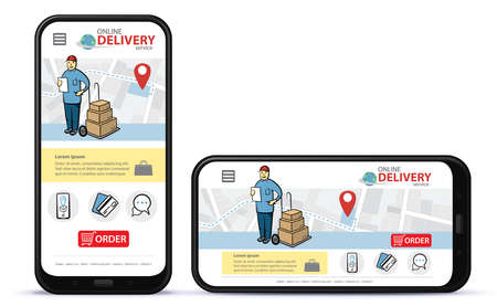 Online delivery service vector UI on mobile phone screen. Vertical and horizontal responsive design template for online shooping app and mobile website.