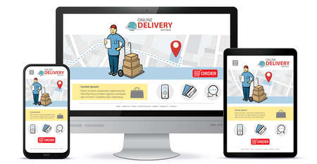 Responsive design template for online delivery app and mobile website. Online shopping service vector UI on Smart Phone, Tablet PC and Computer Monitor