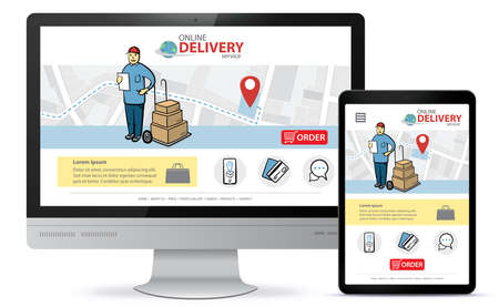 Online delivery service vector UI on Computer screen and Tablet PC. Responsive design template for online shopping app and mobile website. Illusztráció
