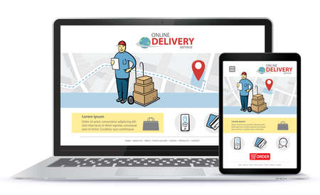 Online delivery service vector UI on Laptop Computer screen and Tablet PC. Responsive design template for online shopping app and mobile website. Illusztráció