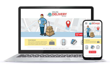Online delivery service vector UI on Laptop Computer screen and Smart Phone. Responsive design template for online shopping app and mobile website.