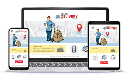 Responsive design template for online delivery app and mobile website. Online shopping service vector UI on Smart Phone, Tablet PC and Laptop Computer Illusztráció
