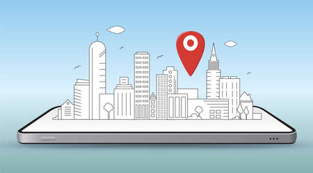 Smart City and Mobile Navigation Concept Vector Illustration. Line art style city drawing lay down on smartphone with pin map icon.