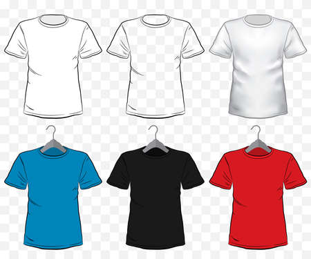 Tshirt mockup vector illustration set with transparent background. Different type and color of short sleeve shirt templates on hanger. Ilustrace