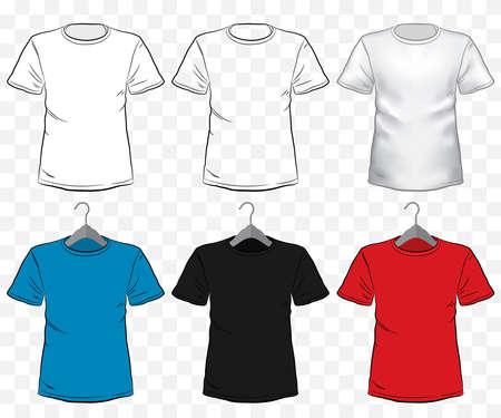 Tshirt mockup vector illustration set with transparent background. Different type and color of short sleeve shirt templates on hanger. Illusztráció