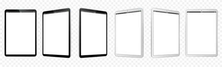 Black and White Tablet Computer Vector Illustration Mockup. Perspective view of Tablet PC With blank screen and transparent background.