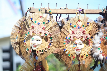 Festival masks Masks used at the Kadayawan Festival in Davao City, Philippines are available for sale in the streets in August each year.